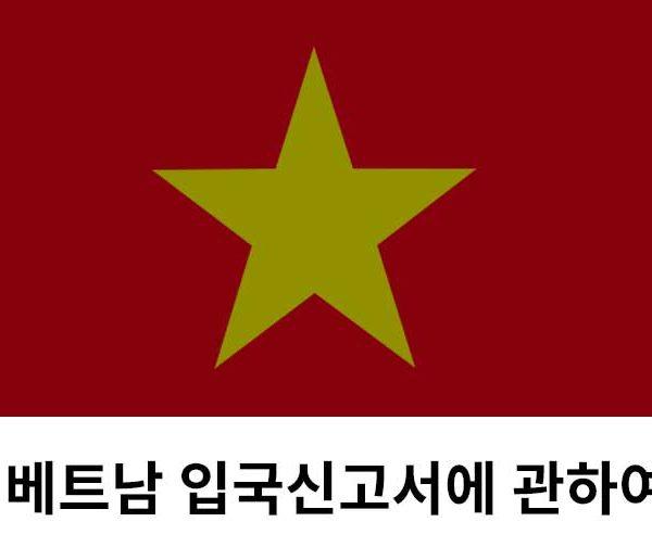 베트남 입국심고서 베트남 입국 베트남 비자 visa